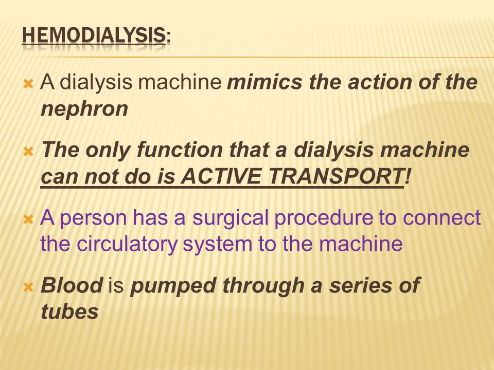  A dialysis machine mimics the action of the nephron  The only function that a dialysis machine can not do is ACTIVE TRANSPORT.