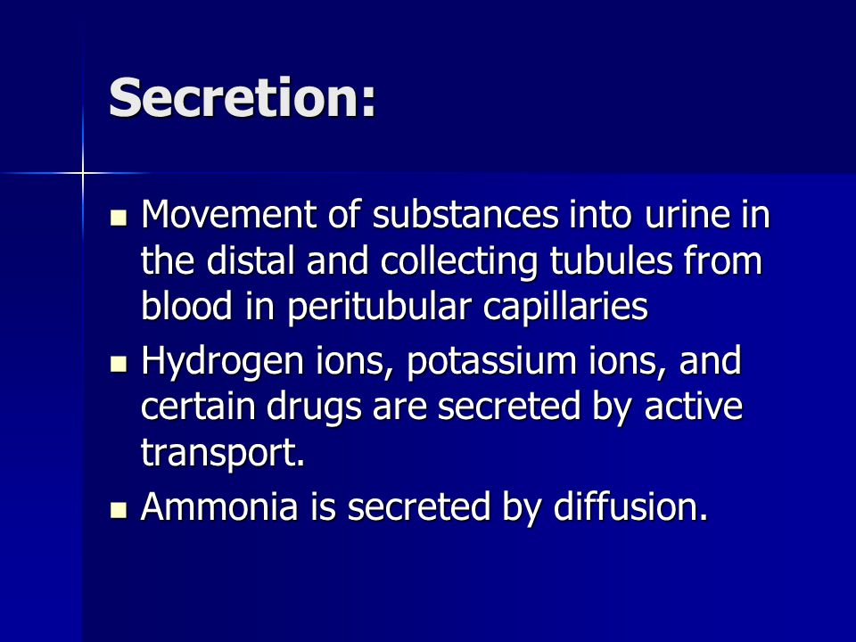 Secretion: Movement of substances into urine in the distal and collecting tubules from blood in peritubular capillaries Movement of substances into urine in the distal and collecting tubules from blood in peritubular capillaries Hydrogen ions, potassium ions, and certain drugs are secreted by active transport.