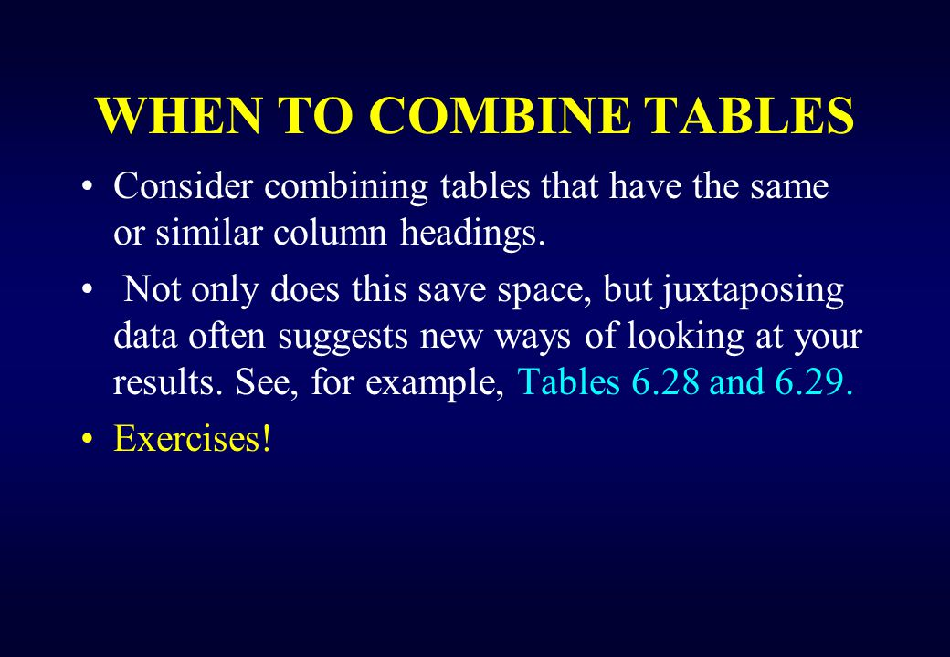 too large table If a table is too large: –delete unnecessary columns (for example, a column of p values) and rows; –avoid repetition of information; –keep titles, headings, and subheadings brief; –use abbreviations (and explain them in the footnotes); and –consider splitting one excessively large table into two smaller tables –reorienting the table