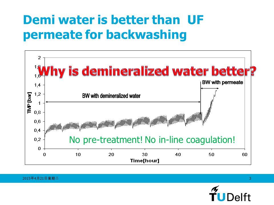 2015年4月21日星期二 2015年4月21日星期二 2015年4月21日星期二 3 Demi water is better than UF permeate for backwashing No pre-treatment.