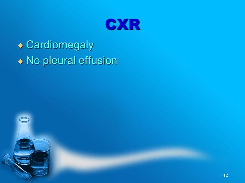 12 CXR  Cardiomegaly  No pleural effusion