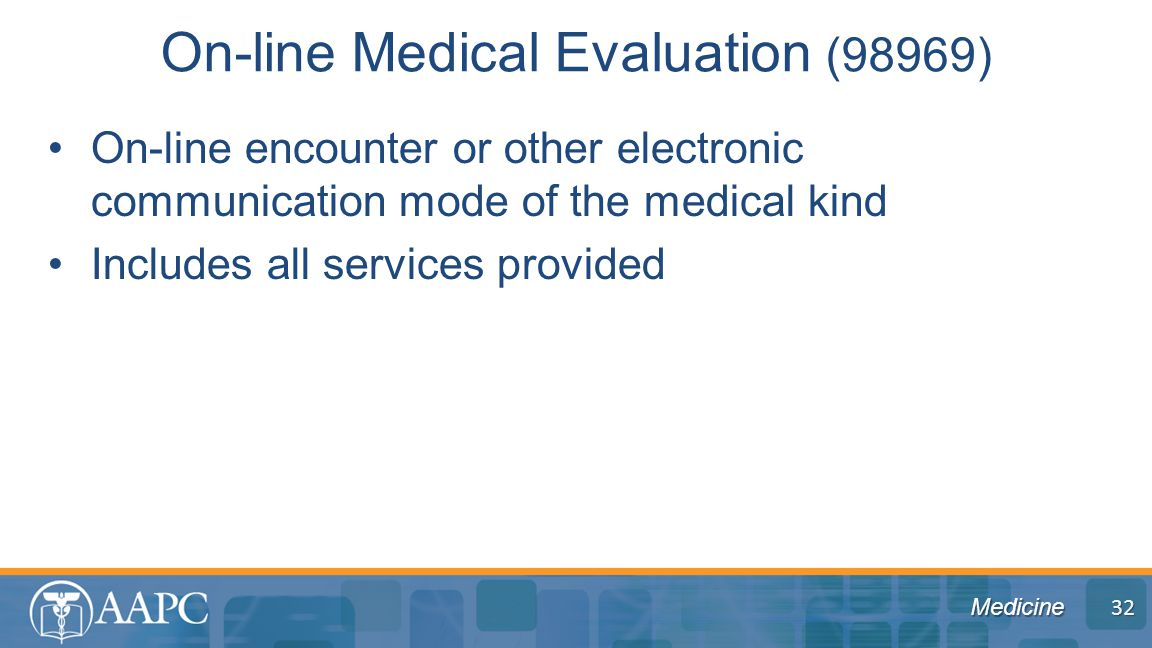 Medicine On-line encounter or other electronic communication mode of the medical kind Includes all services provided On-line Medical Evaluation (98969