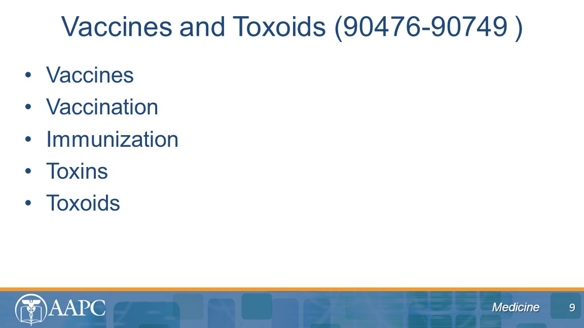 Medicine Vaccines Vaccination Immunization Toxins Toxoids Vaccines and Toxoids (90476-90749 ) 9