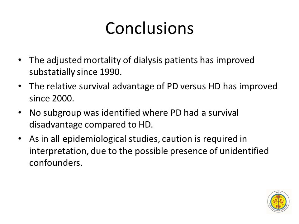 Conclusions The adjusted mortality of dialysis patients has improved substatially since 1990.