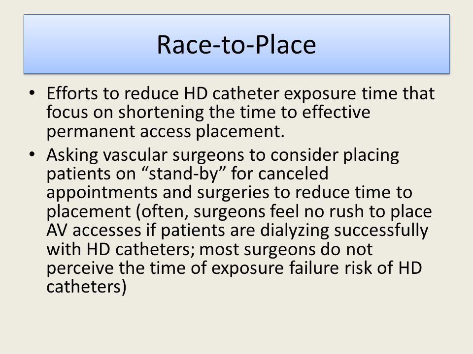Race-to-Place Efforts to reduce HD catheter exposure time that focus on shortening the time to effective permanent access placement.