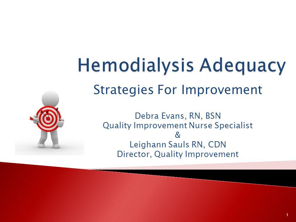 Strategies For Improvement Debra Evans, RN, BSN Quality Improvement Nurse Specialist & Leighann Sauls RN, CDN Director, Quality Improvement 1