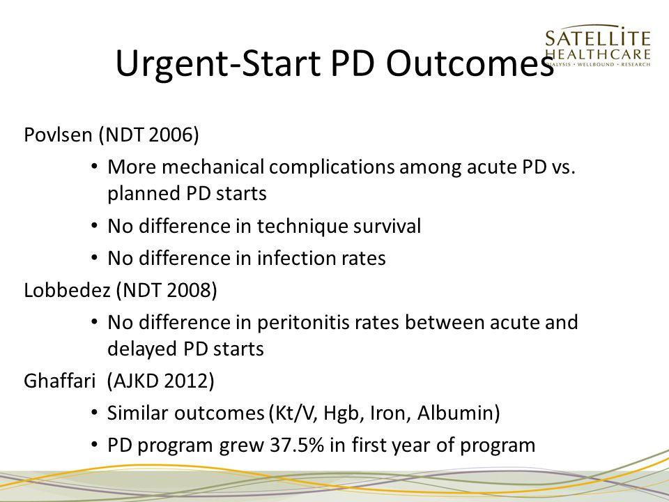 Urgent-Start PD Outcomes Povlsen (NDT 2006) More mechanical complications among acute PD vs.