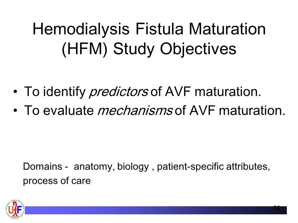 Hemodialysis Fistula Maturation (HFM) Study Objectives To identify predictors of AVF maturation.