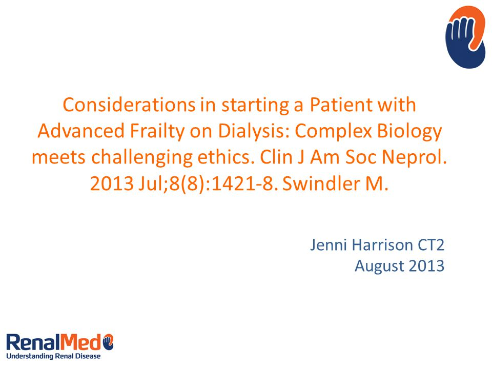 Considerations in starting a Patient with Advanced Frailty on Dialysis: Complex Biology meets challenging ethics.