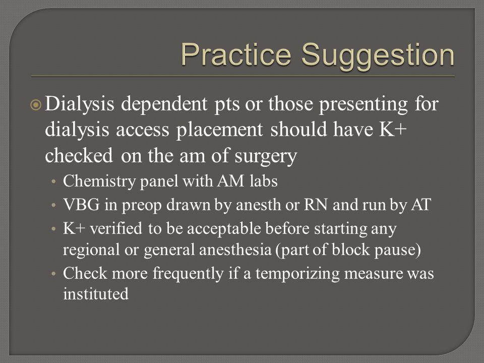  Normal plasma potassium level = 3.4-5.0 mmol/L  Max K+ 5.5 mmol/L when starting minor surgery.