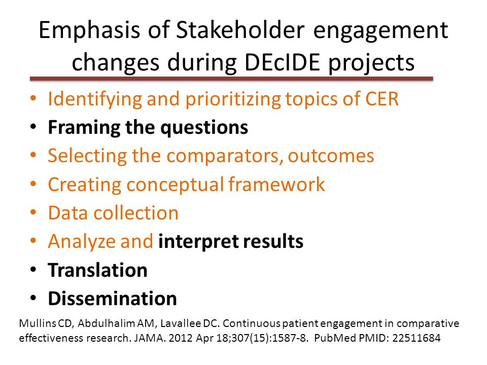 Emphasis of Stakeholder engagement changes during DEcIDE projects Identifying and prioritizing topics of CER Framing the questions Selecting the compa