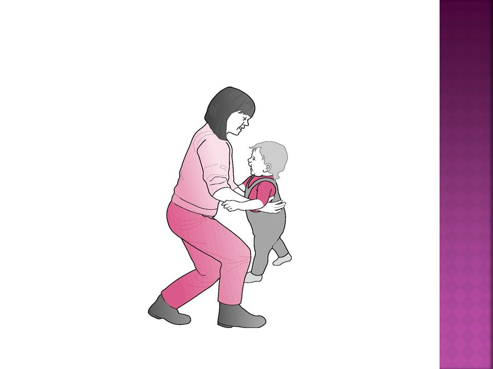 The abdominal and pelvic floor muscles should be drawn in for support and protection of the back and pelvis before bending the knees, holding the object or toddler close to the body, then lifting with the back straight (Fig.