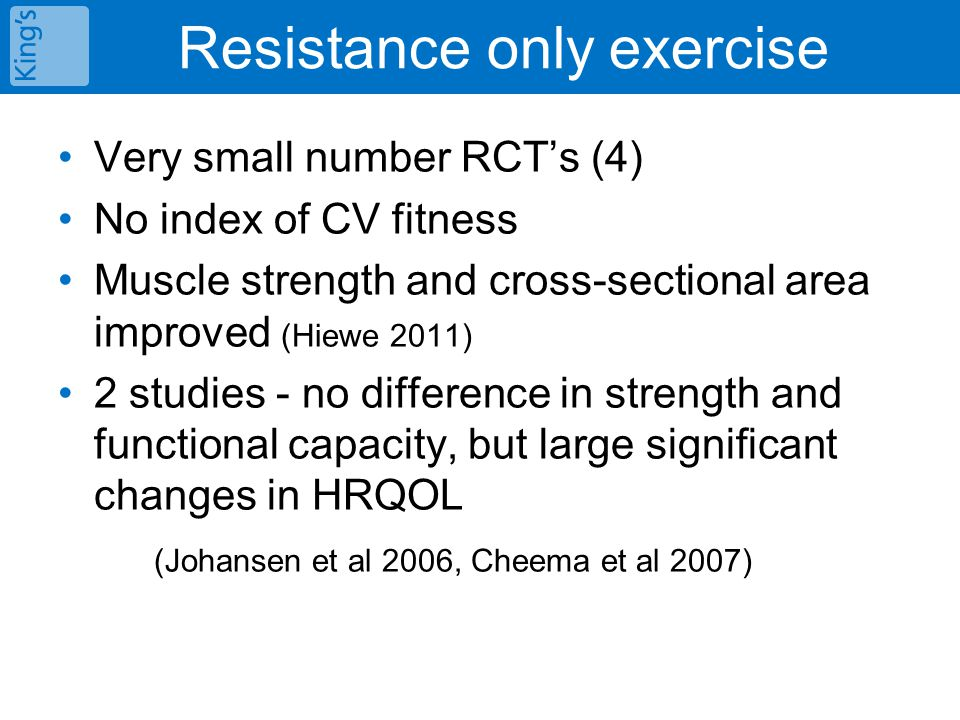 Resistance only exercise Very small number RCT's (4) No index of CV fitness Muscle strength and cross-sectional area improved (Hiewe 2011) 2 studies - no difference in strength and functional capacity, but large significant changes in HRQOL (Johansen et al 2006, Cheema et al 2007)