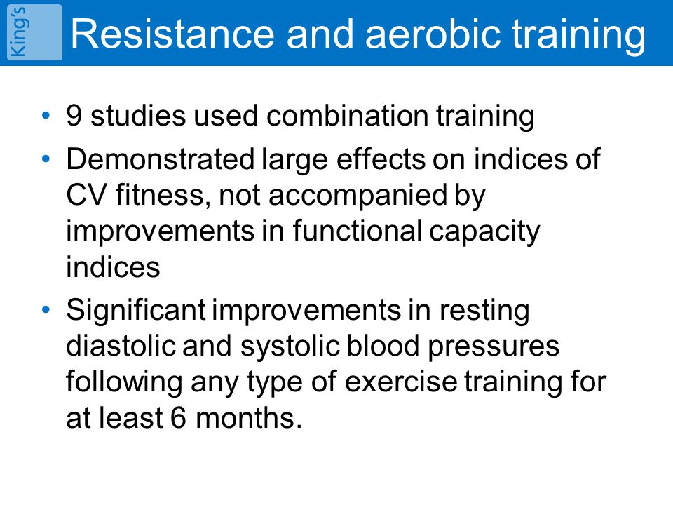 Resistance and aerobic training 9 studies used combination training Demonstrated large effects on indices of CV fitness, not accompanied by improvements in functional capacity indices Significant improvements in resting diastolic and systolic blood pressures following any type of exercise training for at least 6 months.