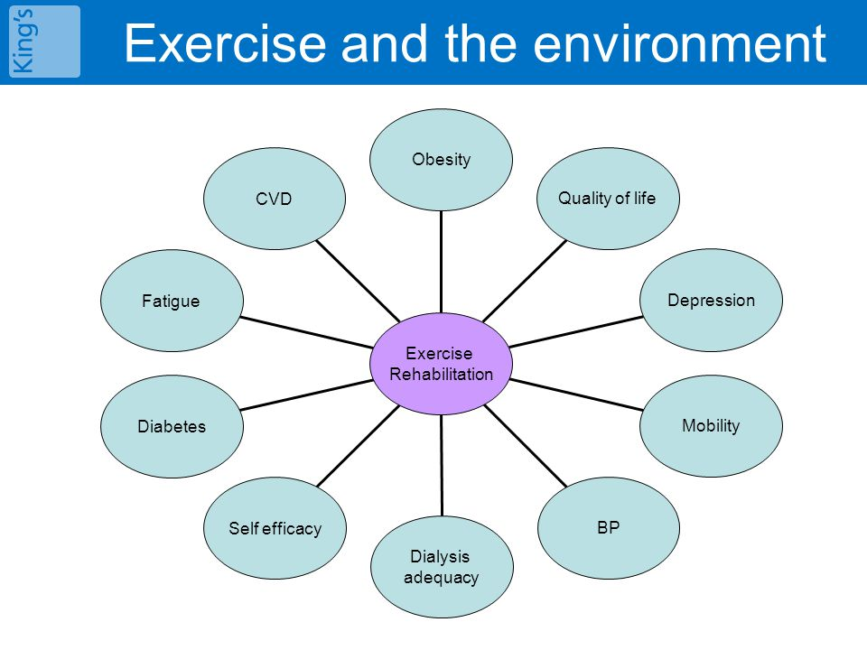 CVD Fatigue Diabetes Self efficacy Dialysis adequacy BP Mobility Depression Quality of life Obesity Exercise Rehabilitation Exercise and the environme