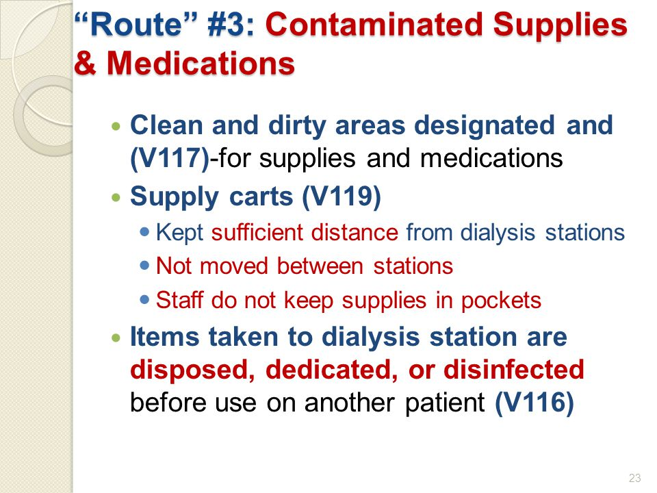 Route #3: Contaminated Supplies & Medications Clean and dirty areas designated and (V117)-for supplies and medications Supply carts (V119) Kept sufficient distance from dialysis stations Not moved between stations Staff do not keep supplies in pockets Items taken to dialysis station are disposed, dedicated, or disinfected before use on another patient (V116) 23