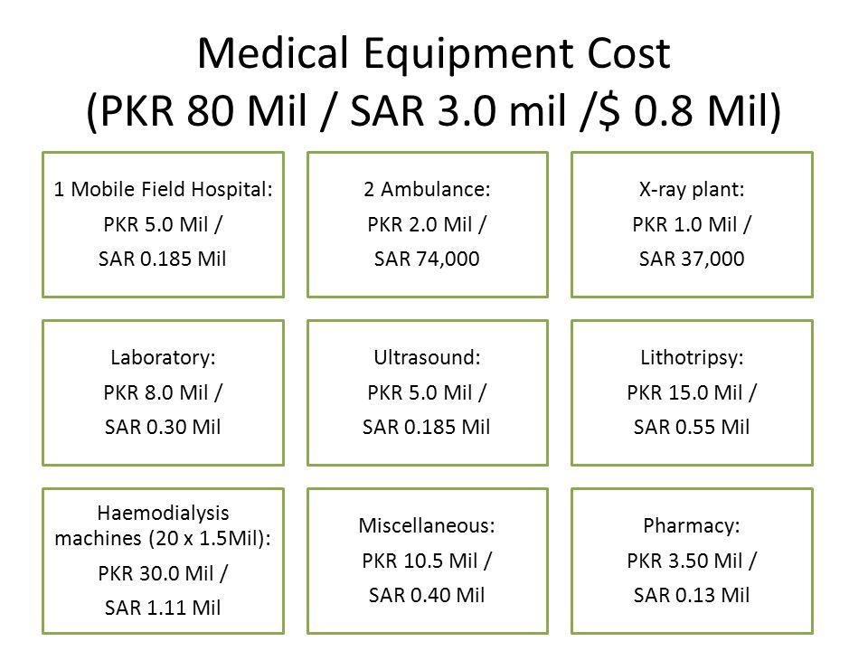Medical Equipment Cost (PKR 80 Mil / SAR 3.0 mil /$ 0.8 Mil) 1 Mobile Field Hospital: PKR 5.0 Mil / SAR 0.185 Mil 2 Ambulance: PKR 2.0 Mil / SAR 74,00