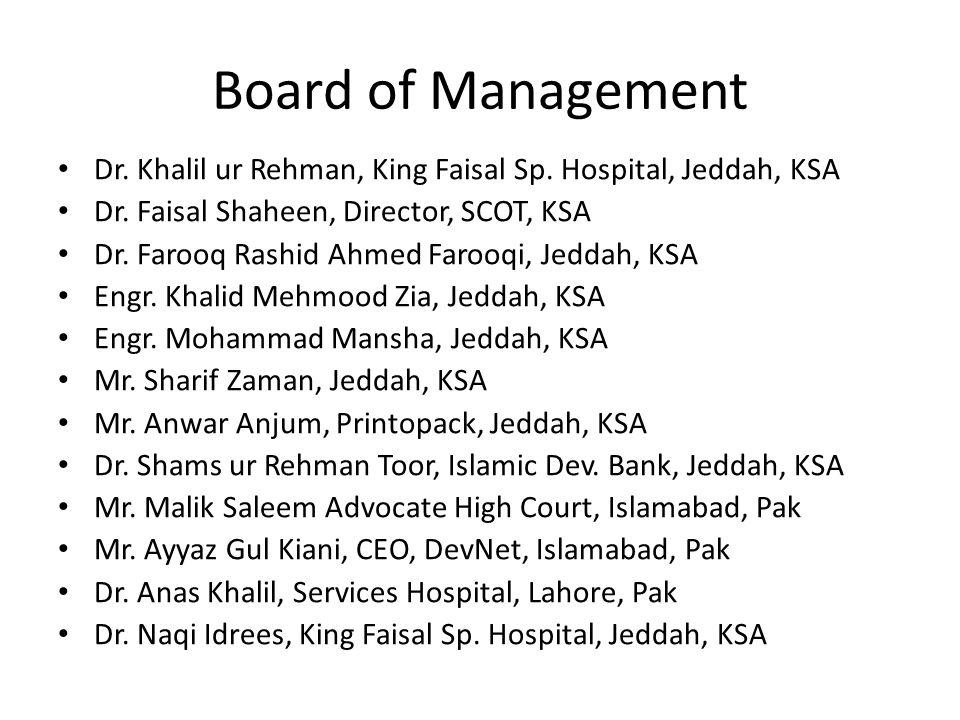 Board of Management Dr. Khalil ur Rehman, King Faisal Sp. Hospital, Jeddah, KSA Dr. Faisal Shaheen, Director, SCOT, KSA Dr. Farooq Rashid Ahmed Farooq