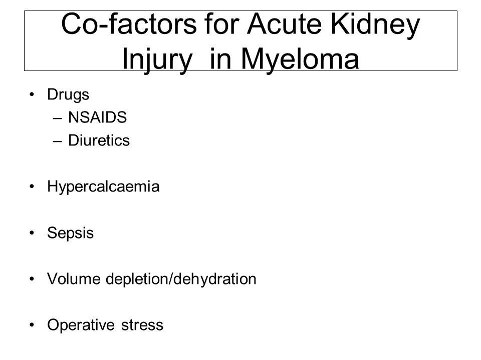 Disease specific kidney injury in Myeloma Cast Nephropathy (Myeloma Kidney) Tubular epithelial cell injury +/- interstitial inflammation and fibrosis AL Amyloidosis Light Chain Deposition Disease Heavy Chain Deposition Disease Cryoglobulinaemic glomerulonephritis
