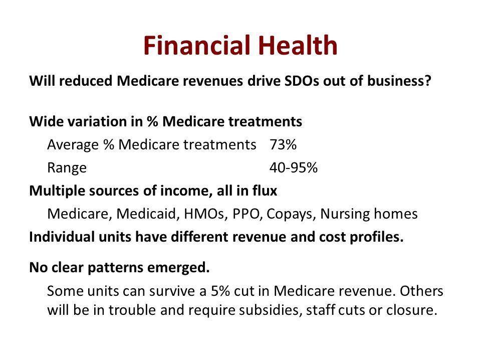 Financial Health Will reduced Medicare revenues drive SDOs out of business? Wide variation in % Medicare treatments Average % Medicare treatments 73%