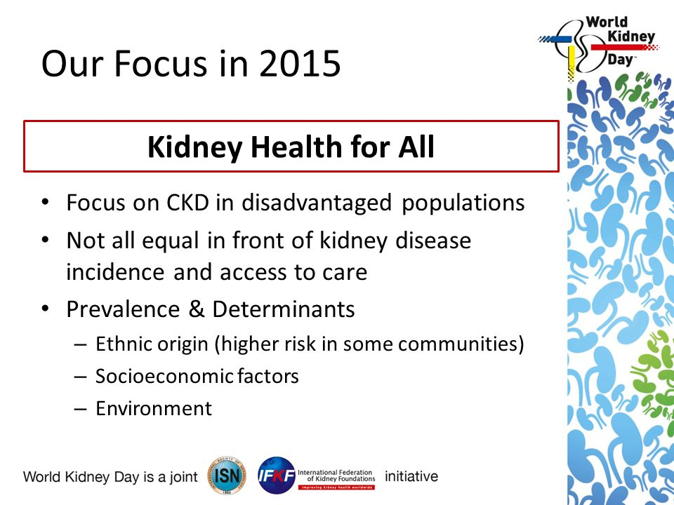 Our Focus in 2015 Focus on CKD in disadvantaged populations Not all equal in front of kidney disease incidence and access to care Prevalence & Determinants – Ethnic origin (higher risk in some communities) – Socioeconomic factors – Environment Kidney Health for All