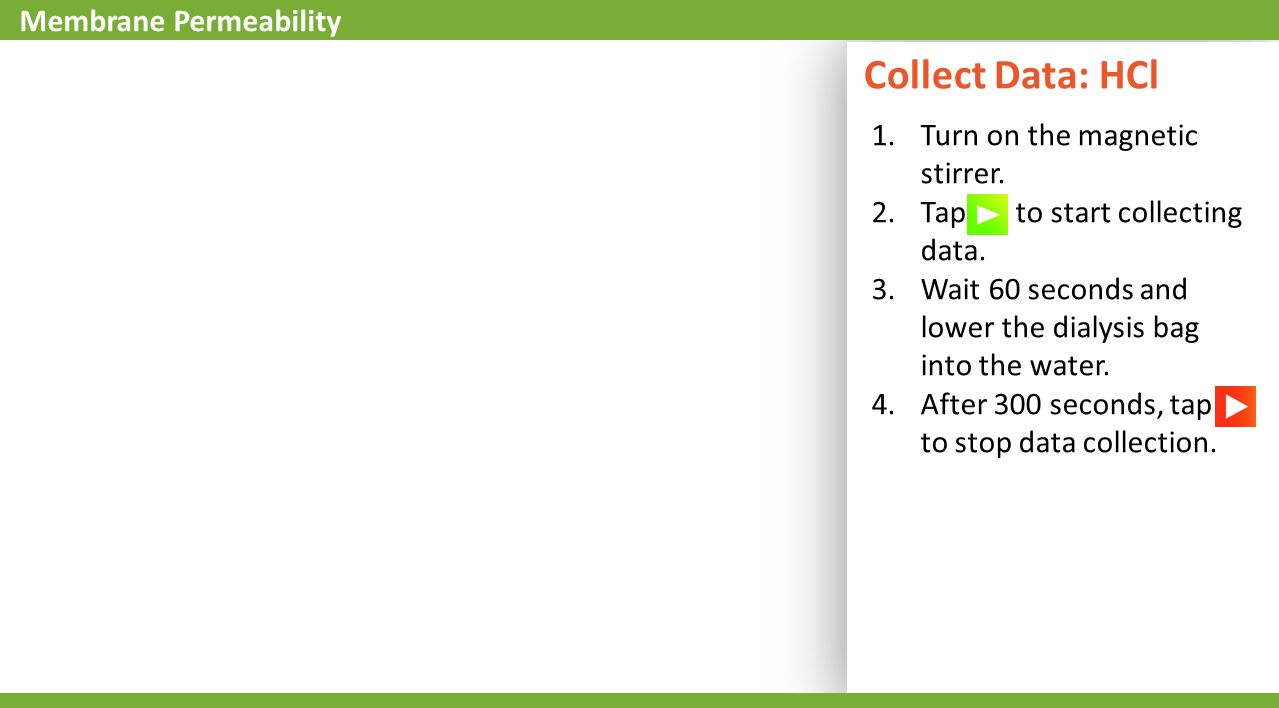Collect Data: HCl 1.Turn on the magnetic stirrer.2.Tap to start collecting data.