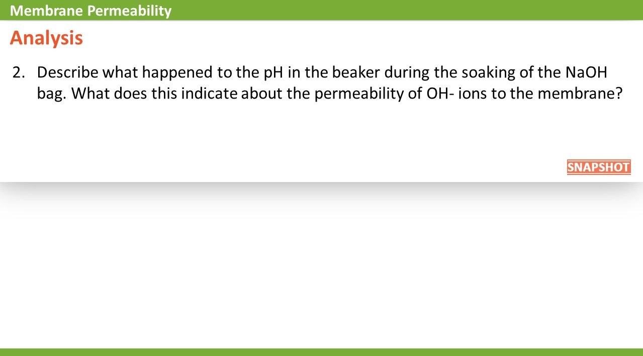 2.Describe what happened to the pH in the beaker during the soaking of the NaOH bag.