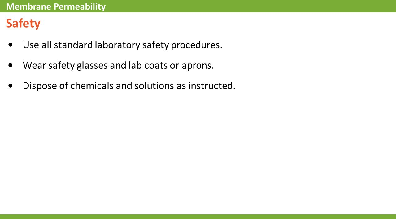 Safety Use all standard laboratory safety procedures. Wear safety glasses and lab coats or aprons. Dispose of chemicals and solutions as instructed. M