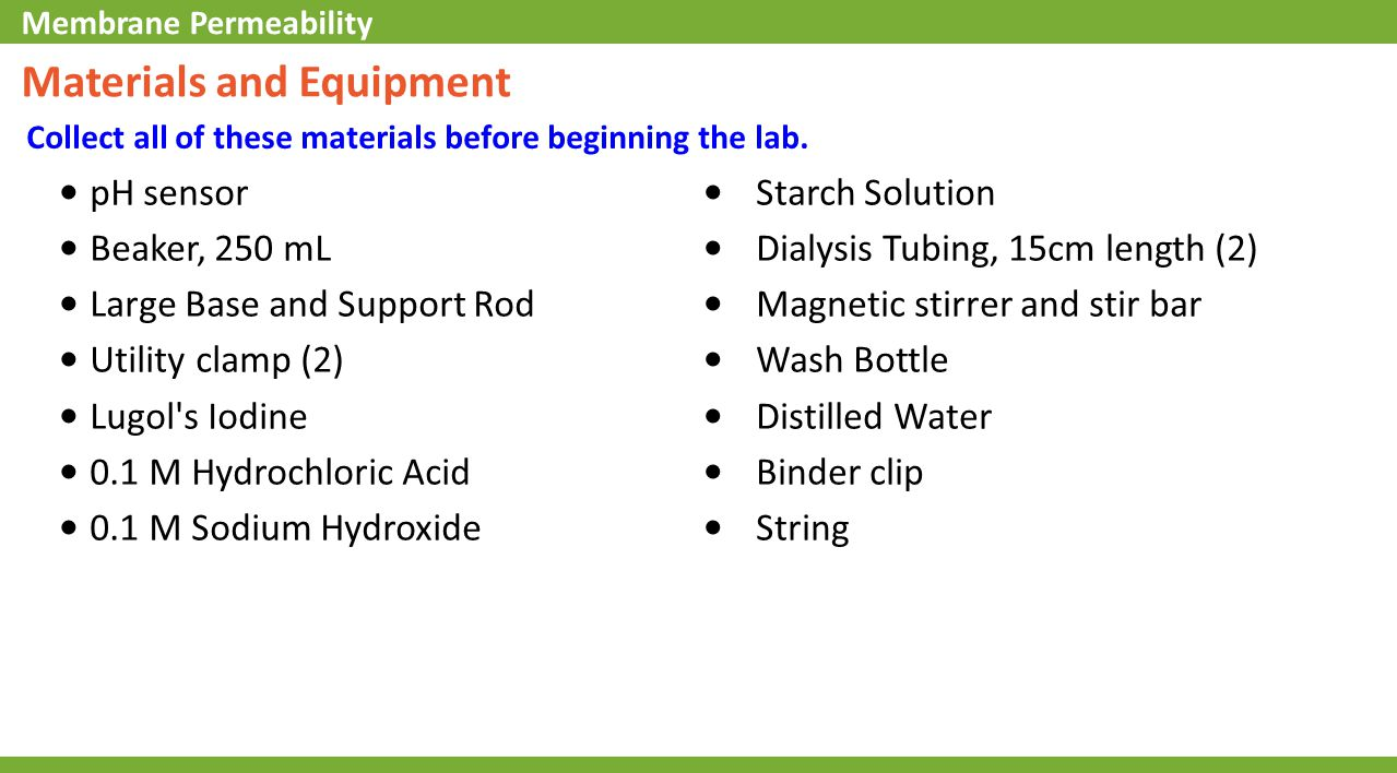 Materials and Equipment Collect all of these materials before beginning the lab. pH sensor Beaker, 250 mL Large Base and Support Rod Utility clamp (2)