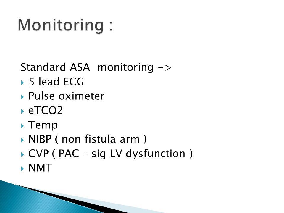 Standard ASA monitoring ->  5 lead ECG  Pulse oximeter  eTCO2  Temp  NIBP ( non fistula arm )  CVP ( PAC – sig LV dysfunction )  NMT