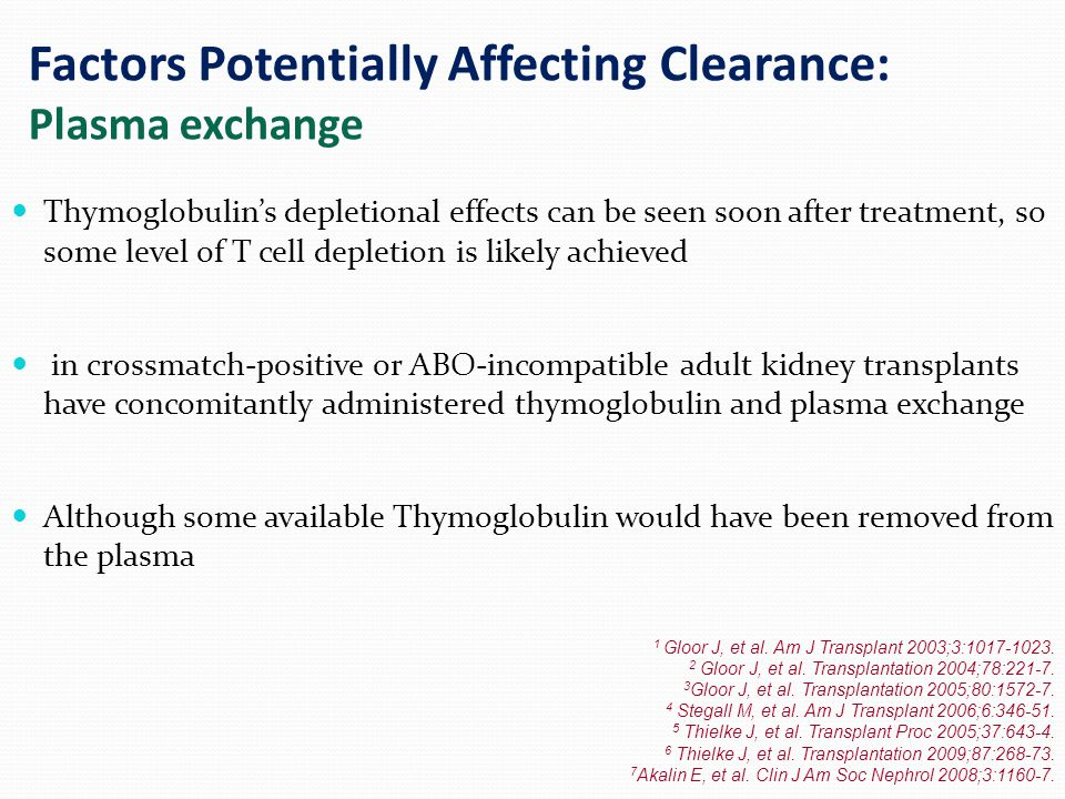 Factors Potentially Affecting Clearance: Plasma exchange Thymoglobulin's depletional effects can be seen soon after treatment, so some level of T cell