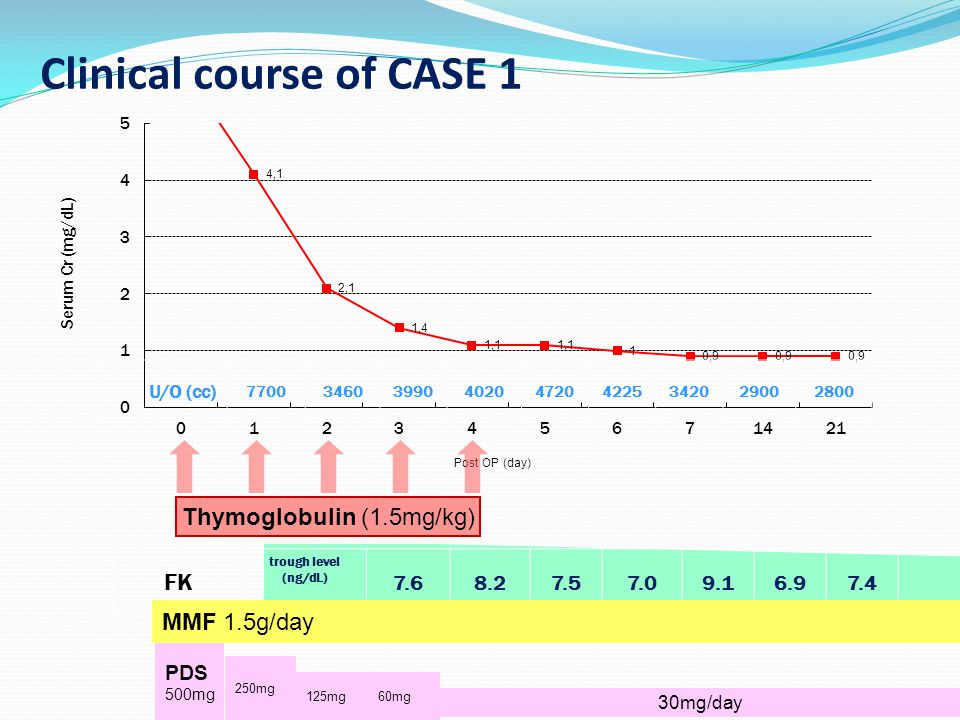 Clinical course of CASE 1 Thymoglobulin (1.5mg/kg) FK trough level (ng/dL) 7.68.27.57.09.16.97.4 MMF 1.5g/day PDS 500mg 250mg 125mg 30mg/day 60mg 7700