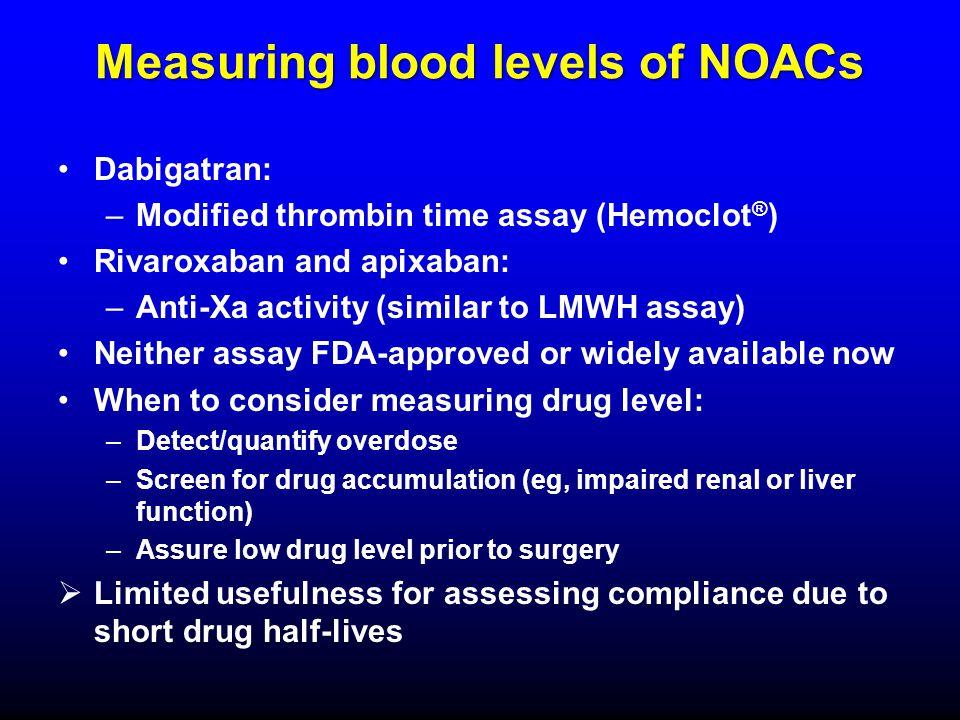 Measuring blood levels of NOACs Dabigatran: –Modified thrombin time assay (Hemoclot ® ) Rivaroxaban and apixaban: –Anti-Xa activity (similar to LMWH a