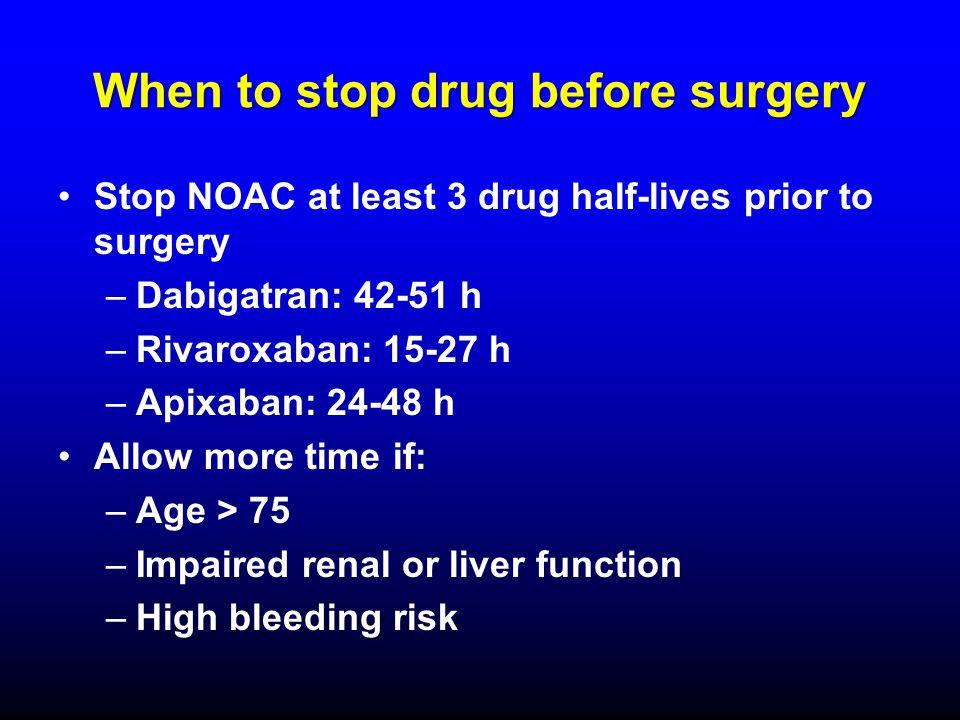 When to stop drug before surgery Stop NOAC at least 3 drug half-lives prior to surgery –Dabigatran: 42-51 h –Rivaroxaban: 15-27 h –Apixaban: 24-48 h A