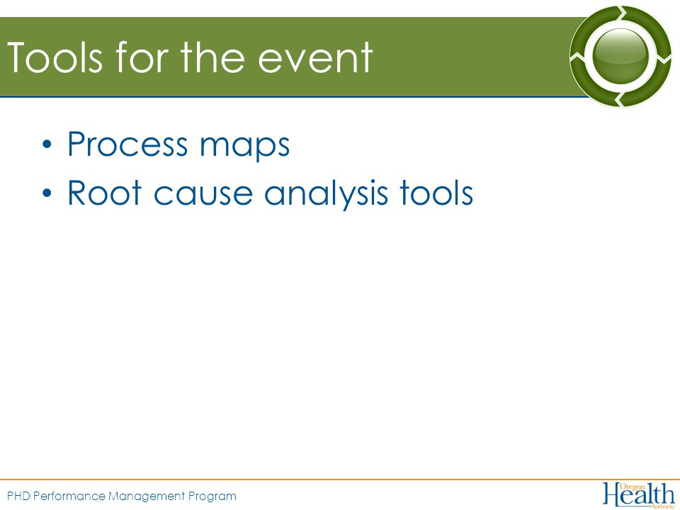 PHD Performance Management Program Tools for the event Process maps Root cause analysis tools