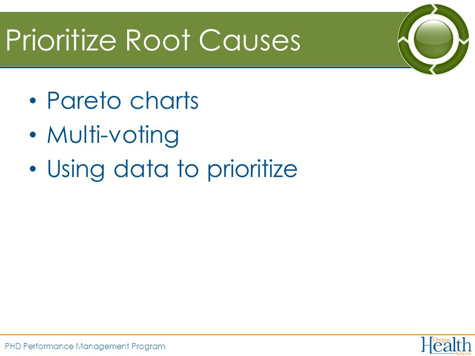 PHD Performance Management Program Prioritize Root Causes Pareto charts Multi-voting Using data to prioritize