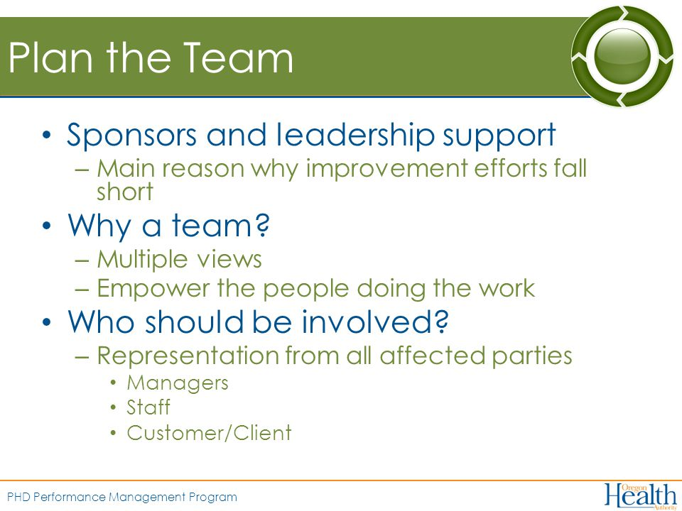 PHD Performance Management Program Plan the Team Sponsors and leadership support – Main reason why improvement efforts fall short Why a team.