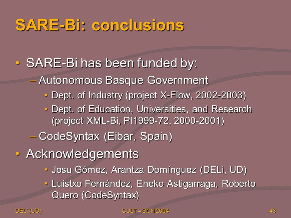 DELi (UD) CULT – BCN 200443 SARE-Bi: conclusions SARE-Bi has been funded by:SARE-Bi has been funded by: –Autonomous Basque Government Dept.
