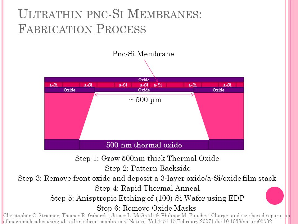 U LTRATHIN PNC -S I M EMBRANES : F ABRICATION P ROCESS (100) Silicon Wafer 500 nm thermal oxide Step 2: Pattern Backside Step 1: Grow 500nm thick Thermal Oxide Step 3: Remove front oxide and deposit a 3-layer oxide/a-Si/oxide film stack Oxide a-Si Step 4: Rapid Thermal Anneal Step 5: Anisptropic Etching of (100) Si Wafer using EDP a-Si ~ 500 μm Step 6: Remove Oxide Masks Oxide Pnc-Si Membrane Christopher C.