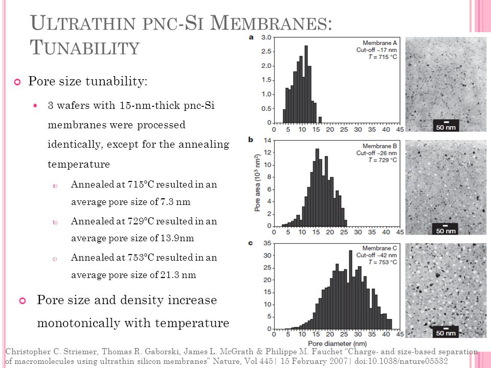 U LTRATHIN PNC -S I M EMBRANES : T UNABILITY Pore size tunability: 3 wafers with 15-nm-thick pnc-Si membranes were processed identically, except for the annealing temperature a) Annealed at 715ºC resulted in an average pore size of 7.3 nm b) Annealed at 729ºC resulted in an average pore size of 13.9nm c) Annealed at 753ºC resulted in an average pore size of 21.3 nm Pore size and density increase monotonically with temperature Christopher C.