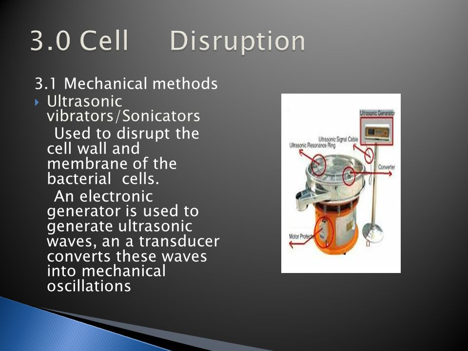 3.1 Mechanical methods  Ultrasonic vibrators/Sonicators Used to disrupt the cell wall and membrane of the bacterial cells.