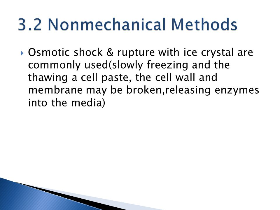  Osmotic shock & rupture with ice crystal are commonly used(slowly freezing and the thawing a cell paste, the cell wall and membrane may be broken,releasing enzymes into the media)