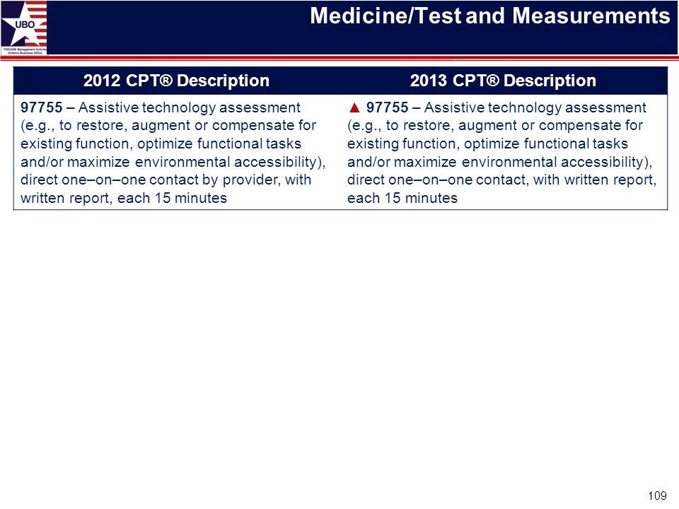 Medicine/Test and Measurements 2012 CPT® Description2013 CPT® Description 97755 – Assistive technology assessment (e.g., to restore, augment or compen