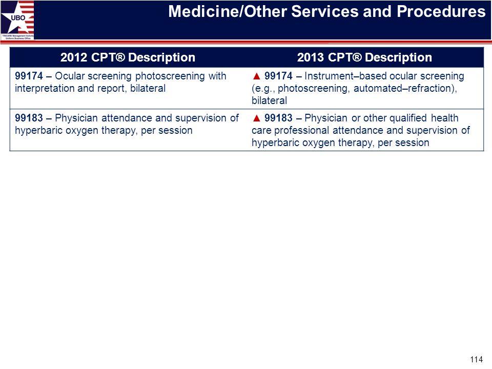 Medicine/Other Services and Procedures 2012 CPT® Description2013 CPT® Description 99174 – Ocular screening photoscreening with interpretation and repo