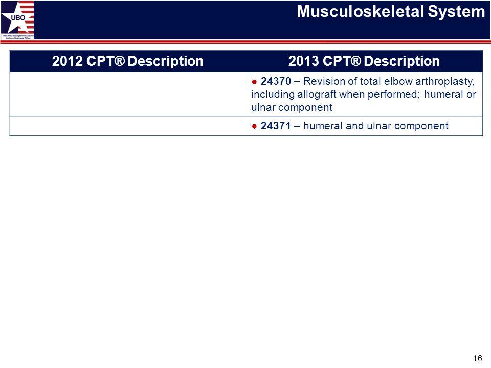 Musculoskeletal System 16 2012 CPT® Description2013 CPT® Description ● 24370 – Revision of total elbow arthroplasty, including allograft when performe