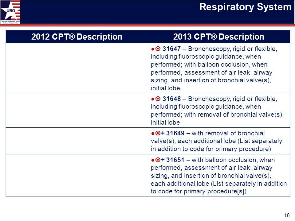 Respiratory System 18 2012 CPT® Description2013 CPT® Description ●  31647 – Bronchoscopy, rigid or flexible, including fluoroscopic guidance, when pe
