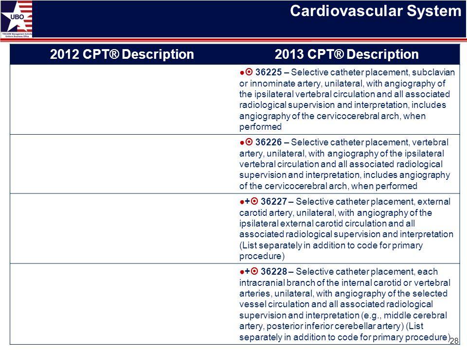 Cardiovascular System 28 2012 CPT® Description2013 CPT® Description ●  36225 – Selective catheter placement, subclavian or innominate artery, unilate
