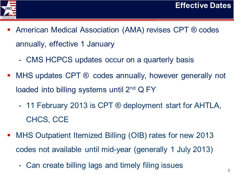 Effective Dates  American Medical Association (AMA) revises CPT ® codes annually, effective 1 January -CMS HCPCS updates occur on a quarterly basis 