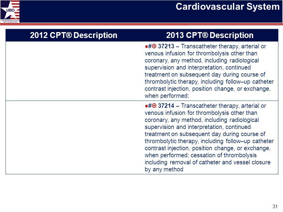 Cardiovascular System 31 2012 CPT® Description2013 CPT® Description ●#  37213 – Transcatheter therapy, arterial or venous infusion for thrombolysis o