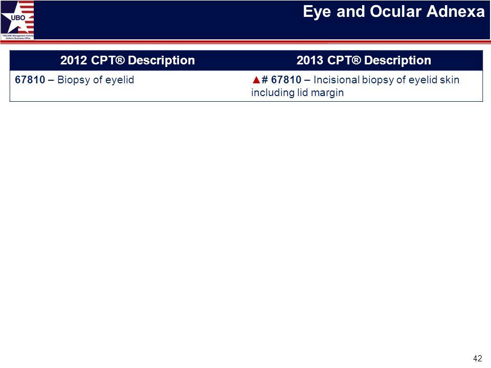 Eye and Ocular Adnexa 42 2012 CPT® Description2013 CPT® Description 67810 – Biopsy of eyelid▲# 67810 – Incisional biopsy of eyelid skin including lid